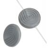 Glass Bead 18mm Round Twister Pattern Grey Silk